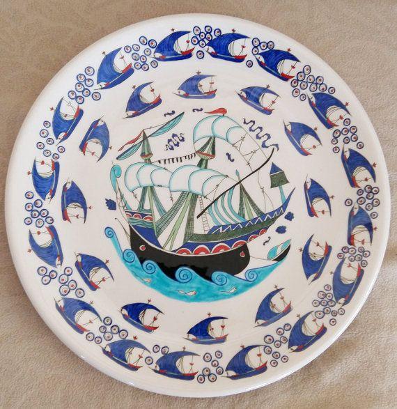 Turkish ottoman handmade three mast galleon painting turkish iznik tile by nurceramicarts