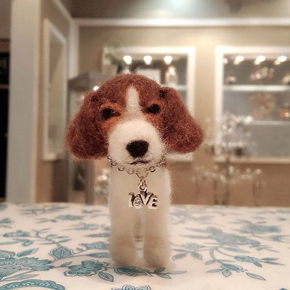 This adorable handcrafted tri-color Beagle puppy is waiting for you to take her home. Shes very affectionate and clever :) This puppy was created by needle felting with Hamanaka Japanese wool. It makes a great gift for Beagle lovers. She measures approximately 3 inches tall by 4.25