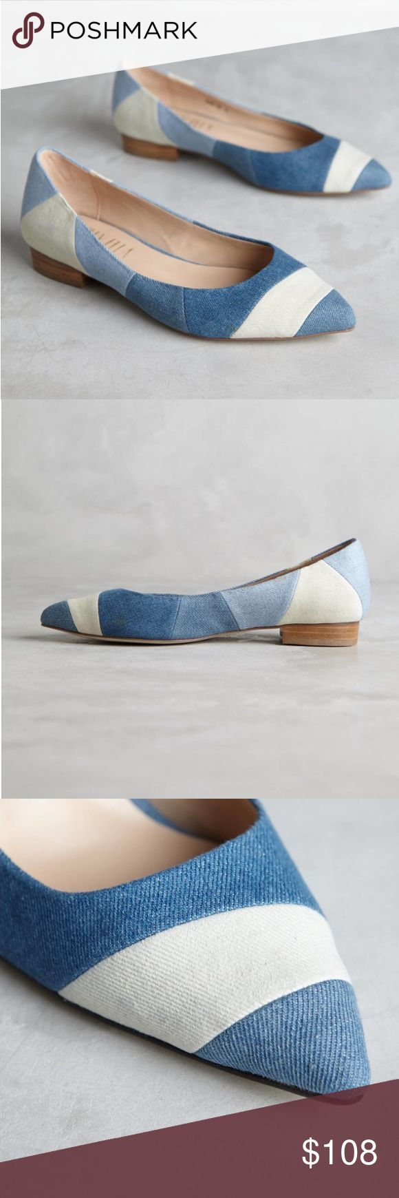 •Anthropologie• Billy Ella Patchwork Flats Denim patchwork flats with a pop of white evoke summer skies yet to come. From Billy Ella.  Fits true to size Cotton denim upper Leather insole Synthetic sole  In near new condition! Anthropologie Shoes Flats & Loafers