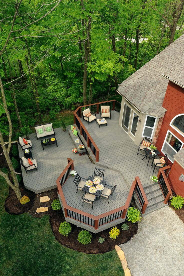 Birdseye view of what could be your new deck! TimberTech Terrain decking collection in Silver Maple with Evolutions Rail Contemporary in Brick and Black.