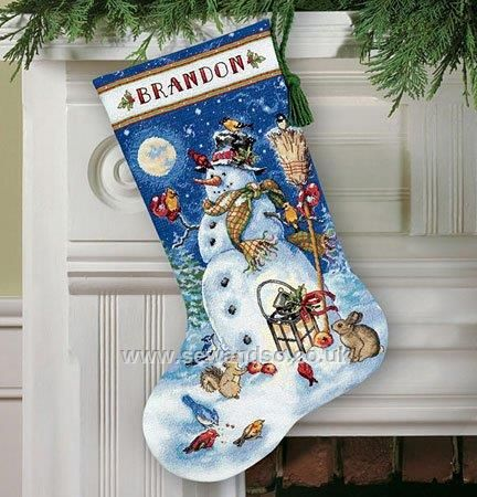 Buy Snowman and Friends Stocking Cross Stitch Kit Online at www.sewandso.co.uk