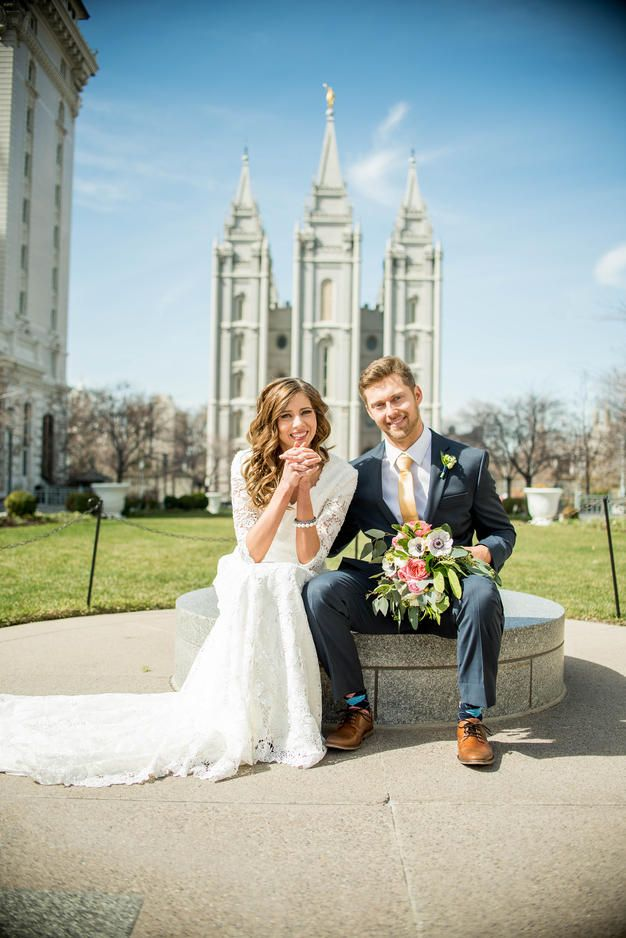 Salt Lake Temple Wedding    Bridal Party Photos    LDS Temple Wedding    Lace Dress    Modest Wedding Dress    Elizabeth Cooper Design    Sadie Banks Photography