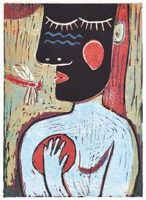 Vážka, 2012, linoryt, 24 x17 cm, 12 tisků Dragonfly, 2012, linocut, 24 x 17 cm, 12 prints by Jindřich Pevný
