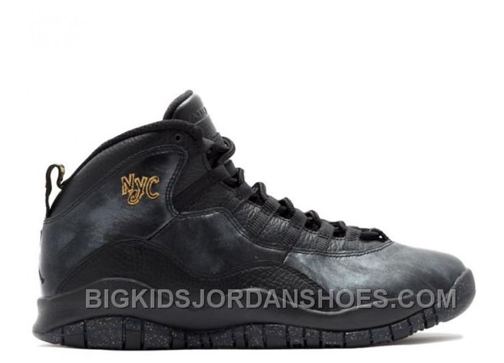 Air Jordan 10 Retro Black/Dark Grey-Metallic Gold (NYC) Men Shoes  310805-012 2016