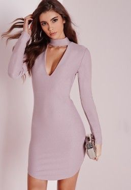 petite crepe choker curve hem cut out bodycon dress lilac