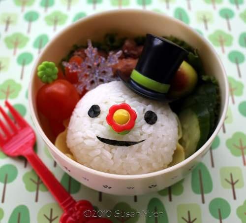 snowman onigiri bento