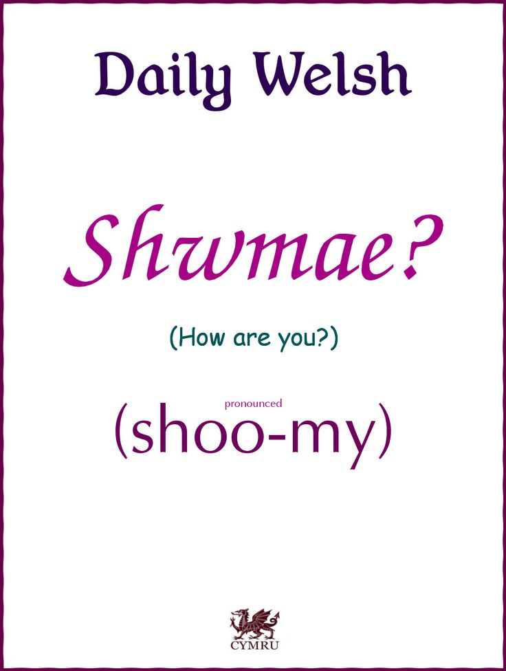 Daily Welsh:  How are you?