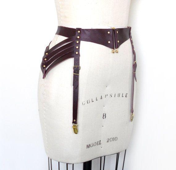 Mana Leather Garter Belt, Burgundy Stocking Suspenders, Steampunk Lingerie, Sexy Burning Man, Body Harness, Burlesque Costume, Halloween