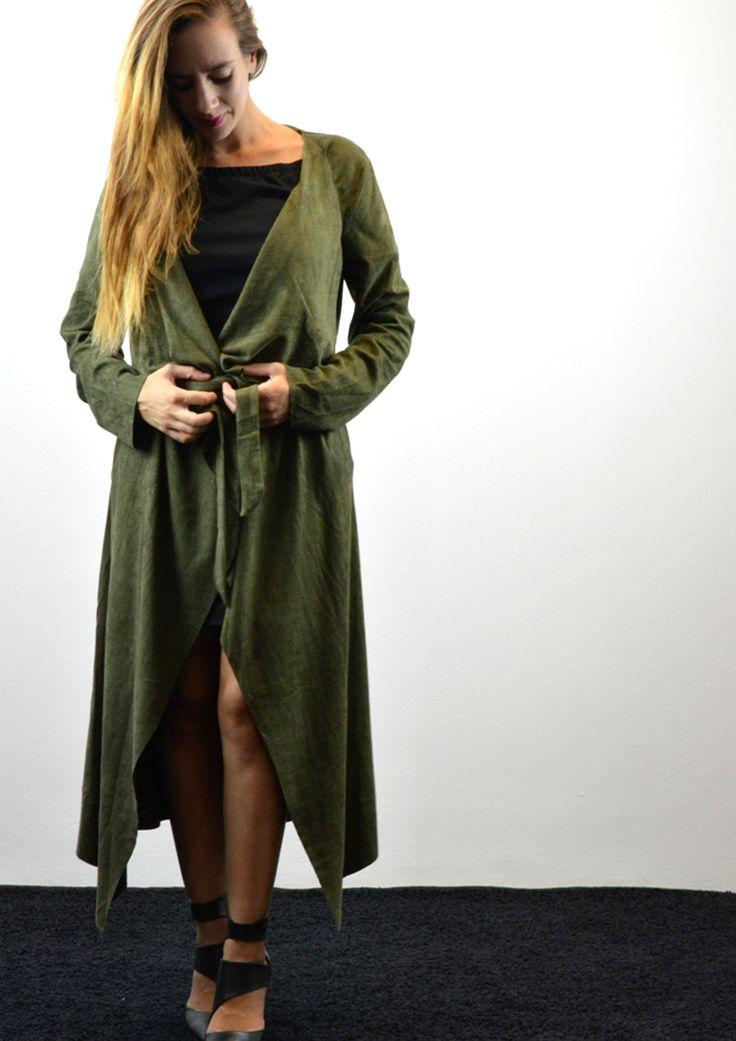 Παλτό Μακρύ σε Suede Υφή - ΚΥΠΑΡΙΣΣΙ | shop online: www.musitsa.com