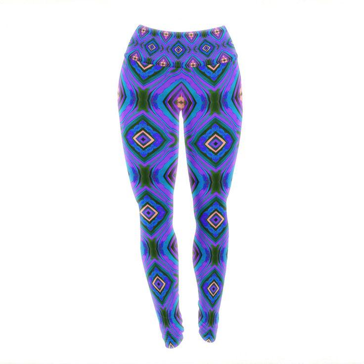 "Anne LaBrie ""Dark Diamond"" Purple Blue Yoga Leggings from KESS InHouse"