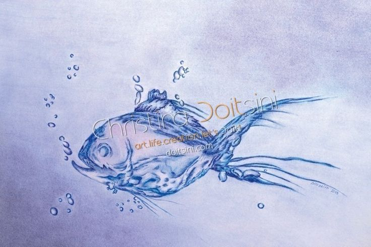 The Blue Fish. Pastel drawing by Christina Doitsini.