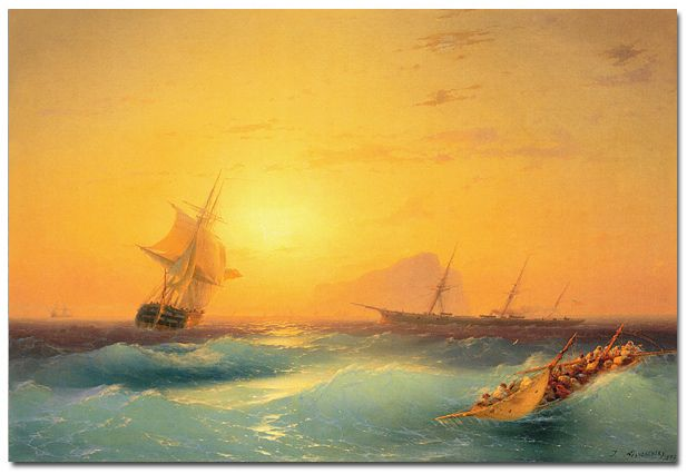 """Ivan Aivazovsky - """"American Shipping off the Rock of Gibraltar"""" - The Canvas Art Factory  Ivan Aivazovsky (Russian: Иван Айвазовский) (July 29, 1817 – May 5, 1900) was an Armenian-Russian painter living and working in Crimea on the Black Sea, and widely considered as one of the greatest seascape painters of all time."""