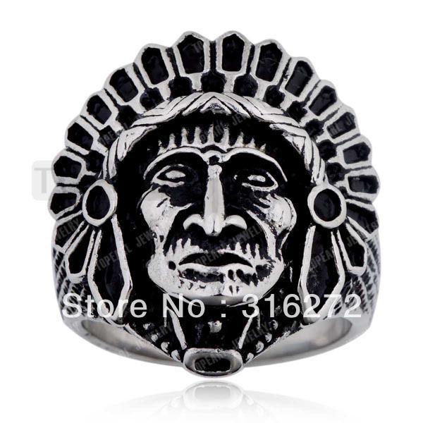 Topearl Ювелирные Изделия 3 шт. Нержавеющая Сталь Apache Indian Главный Ролях Кольцо с Перо Корона MER289