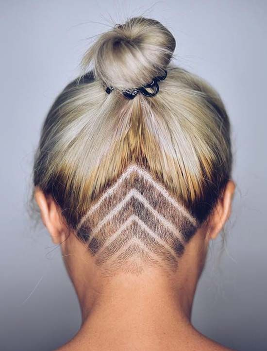 Womens Updo Undercut Hairstyles with Hair Tattoos