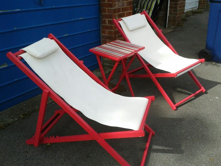 Henley regatta styled raspberry red deck chairs n maching drinks table i completed the upcycle today...now all i have do is find me a cheap picnic basket and i'm sorted