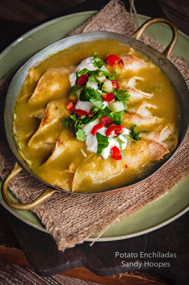 Potato Enchiladas with Green Chile Tomatillo Sauce Recipe