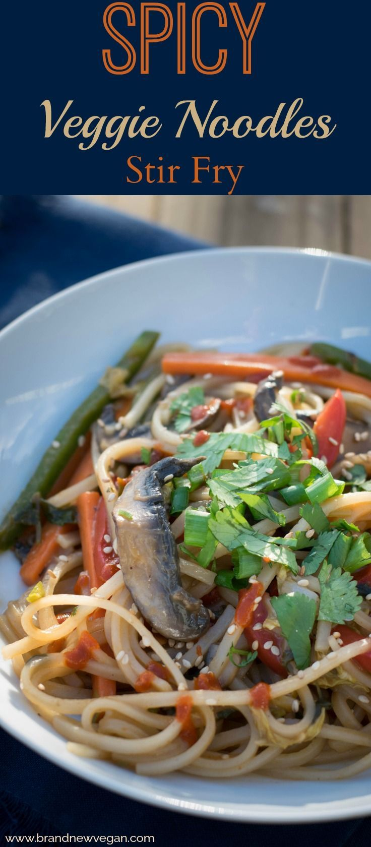 This week'srecipe: a Spicy Veggie Noodles Stir Fry!  Alright, they're not THAT spicy, but they are good and absolutely loaded with super healthy veggies and chewy rice noodles.   Who says Stir-Frys have to be oily or dull? via @brandnewvegan