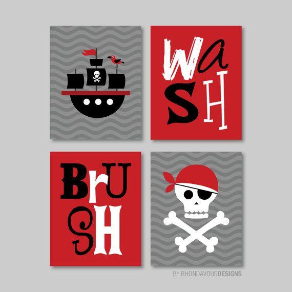 Lovely Kid Bathroom Art   Child Bathroom Art   Pirate Bathroom Art   Pirate  Bathroom Decor   Bathroom Rules   Wash Brush Flush. Pirate Art. (NS372)