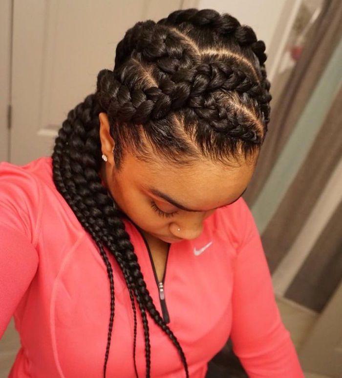 1001 Idees Comment Faire Une Tresse Africaine Tuto Et Modeles Coiffure Coiffure Cheveux Naturels Style De Cheveux