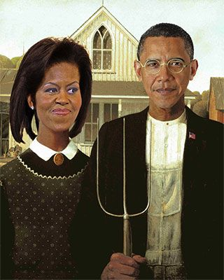 "A New American Gothic...deluded Republican, wacko, crackpots...enjoy! (""We aren't racist, we just hate Obama."")"