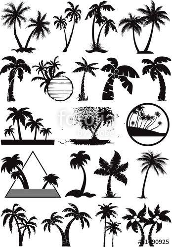 """Laden Sie den lizenzfreien Vektor """"palm  and coconut trees vector silhouette"""" von PrintingSociety zum günstigen Preis auf Fotolia.com herunter. Stöbern Sie in unserer Bilddatenbank und finden Sie schnell das perfekte Stockbild für Ihr Marketing-Projekt!"""