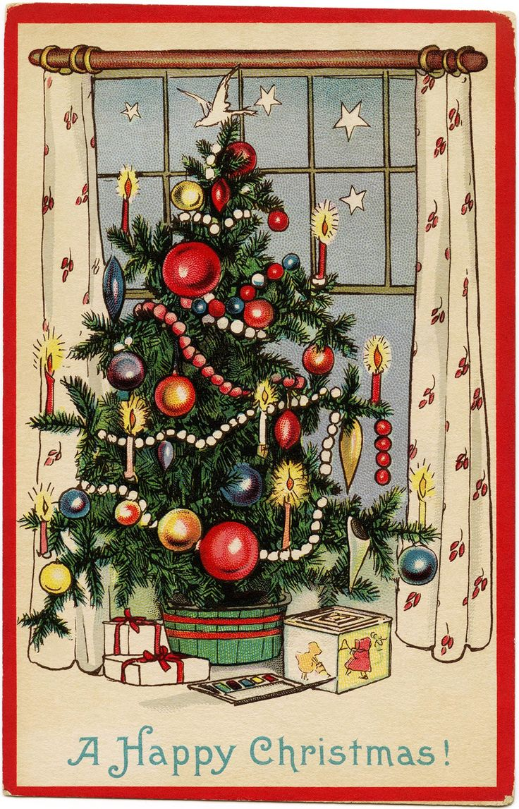 Free printable vintage christmas cards - Free Freebie Printable Vintage Christmas Postcard Christmas Tree