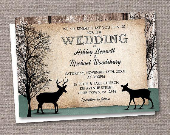 Rustic Woodsy Deer Wedding Invitations and RSVP