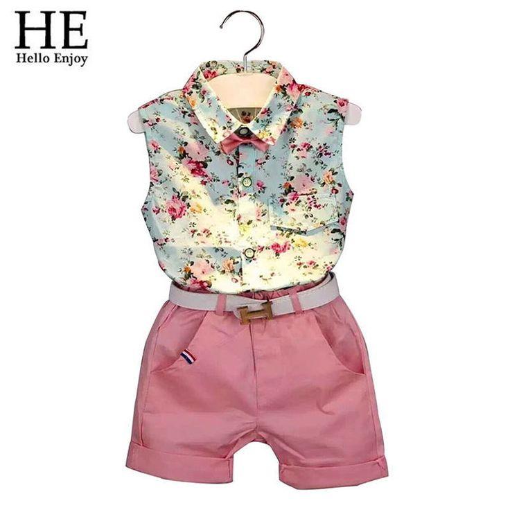 $8.63 (Buy here: https://alitems.com/g/1e8d114494ebda23ff8b16525dc3e8/?i=5&ulp=https%3A%2F%2Fwww.aliexpress.com%2Fitem%2F2015-New-casual-sleeveless-summer-baby-boys-girls-Shirt-shorts-belt-3pcs-suit-children-clothing-set%2F32374588561.html ) HE Hello Enjoy girls clothes summer 2016 girls clothing sets kids clothes Floral girl shirts+shorts clothing sets 3-8 year for just $8.63