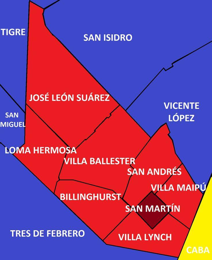 Mapa de San Martín . Mapa de San Martin con todas sus localidades