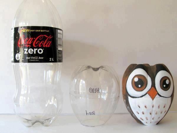 Uil van plastic fles