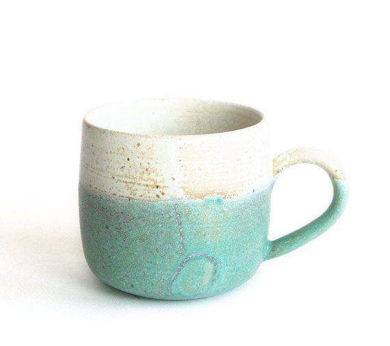Green Blue  and Beige Mug Handmade ceramics by RzucidloCeramics