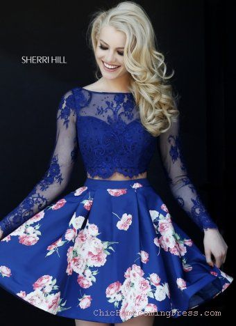 Gorgeous Two Piece Sherri Hill 32323 Navy Short Homecoming Dress
