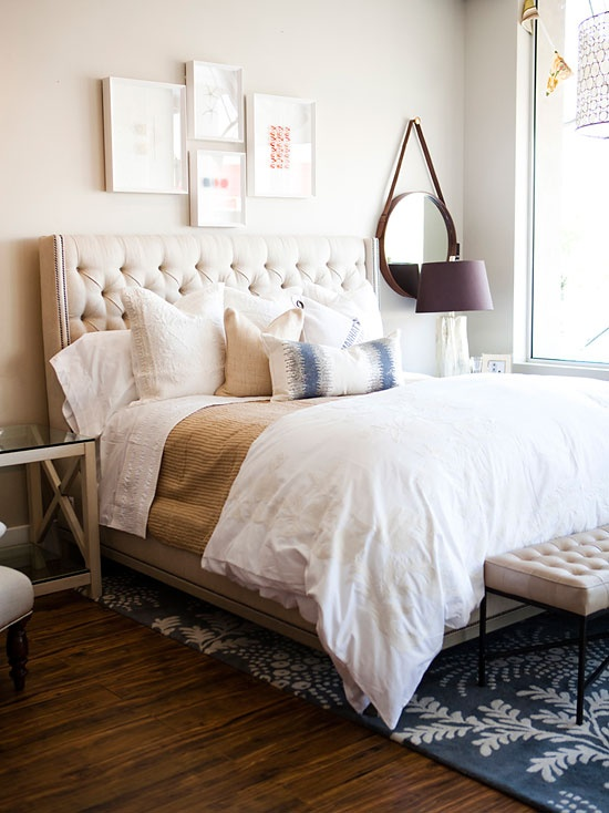 My favorite bedroom inspiration yet. Would do a different headboard, but I love the picture collage, the white comforter, neutral blanket/sheets, and colored pillow and rug.: Bedroom Design, Bedroom Enchantment, Appartment Bedroom, Master Bedroom, Bedrooms, Bedroom View