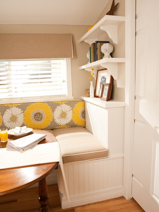 Breakfast Nook idea #2 - like the shelving over the seating.