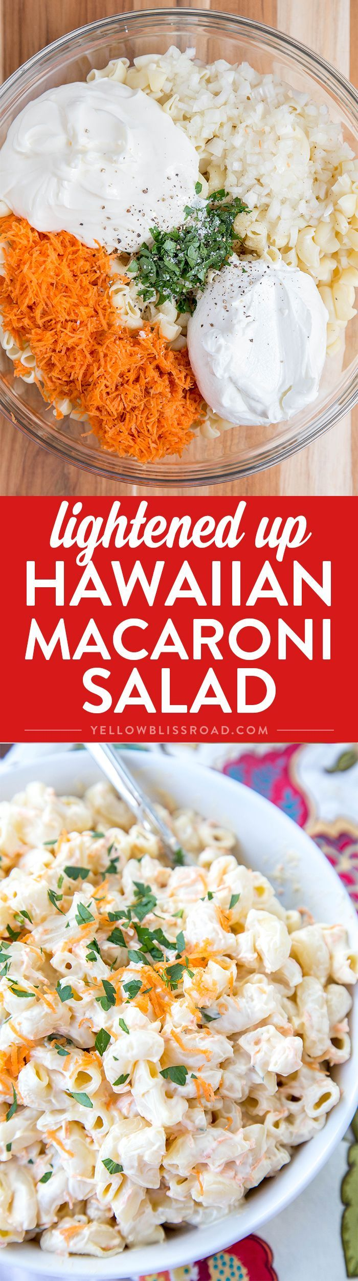 Lightened Up Hawaiian Macaroni Salad - Super creamy and much healthier than the classic version of this delicious side dish