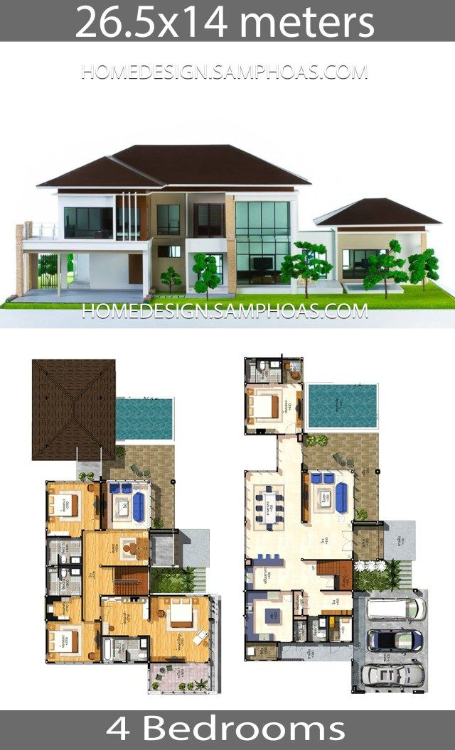 House Plans Idea 26 5x14 With 4 Bedrooms Home Ideassearch Bungalow House Design Modern House Floor Plans House Blueprints