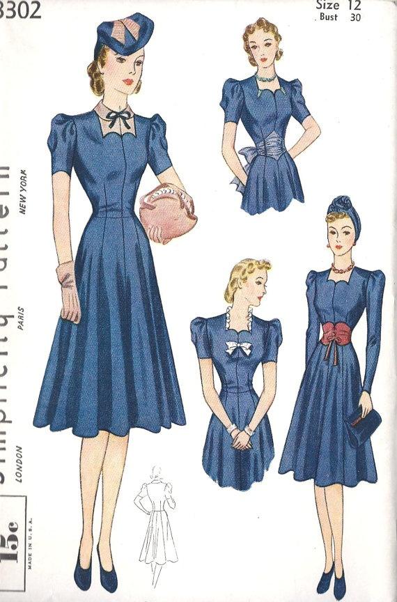 1930s Misses Dress Vintage Sewing Pattern by MissBettysAttic, $35.00