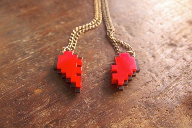 Pixel Heart Necklaces