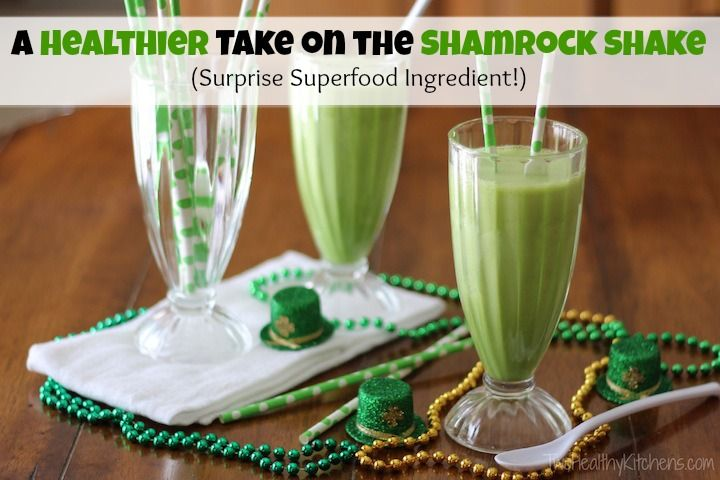 A Healthier Take on the Shamrock Shake (Surprise Superfood Ingredient!) from Two Healthy Kitchens - The perfect way to celebrate St. Patrick's Day! This fun, delicious, simple, and healthy version of the Shamrock Shake is just bursting with nutrition!