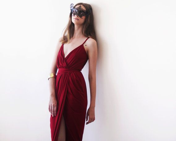 Wrap maxi Bordeaux gown Wine red tulip maxi gown by BLUSHFASHION