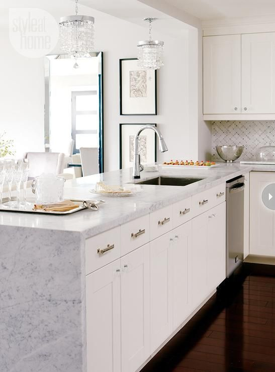 (Great way to finish the side of old kitchen cabinets) Style at home bardiligio marble, waterfall kitchen peninsula