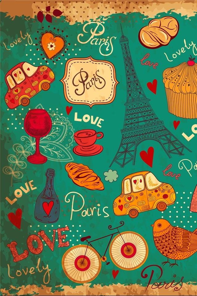 Paris como inspiração no fundo de tela #Wallpaper #Background #Patterns #Print #PapelDeParede #Desenhos #Ilustrações #iphone #celular #cel