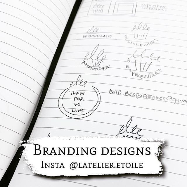 Branding ideas for an upcoming bakery, brainstorming ideas are always the most exciting process I identity branding. So much potential and so many possibilities ✌🏻️ I strongly believe in branding because I'm a sucker for nice packaging myself , sounds familiar? 🌟 #brandingdesigner #latelieretoileco    Contact me for products and details. It's not as hard as you think and the process is fun and allows you to revisit why you should be passionate about your business to begin with…
