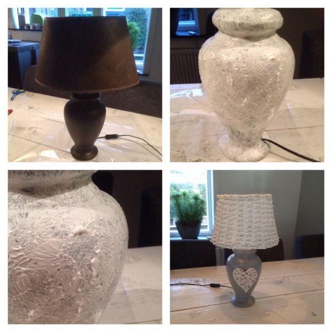 Op een markt een oude lamp gekocht. Kap eraf gehaald en de lamp bewerkt met 2 lagen gesso. De gesso goed laten drogen voor je de tweede laag aanbrengt. Na het drogen van de gesso de lamp gespoten met een spuitbus verf, ook hier twee lagen voor een goed dekkend effect. Uiteindelijk de nieuwe kap erop en de lamp is weer als nieuw.