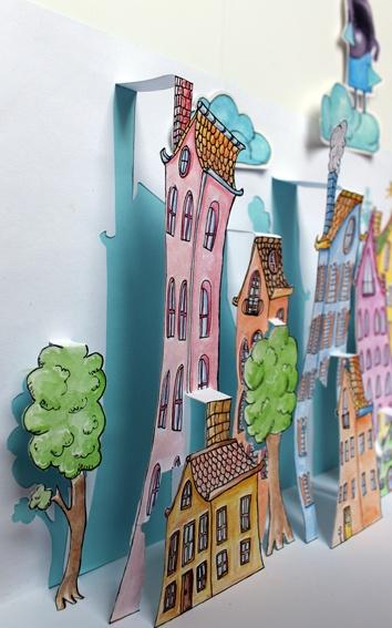 kirigami cartoon style houses