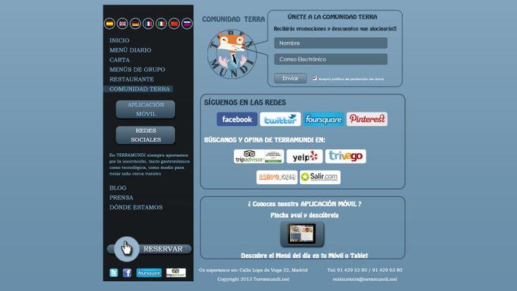 Vista de la pantalla de la Comunidad Terra