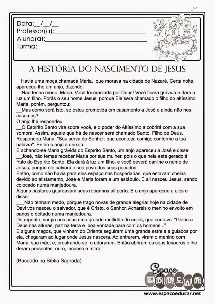 """ESPAÇO EDUCAR: Atividade de Natal: texto """"A história do nascimento de Jesus"""" com interpretação"""