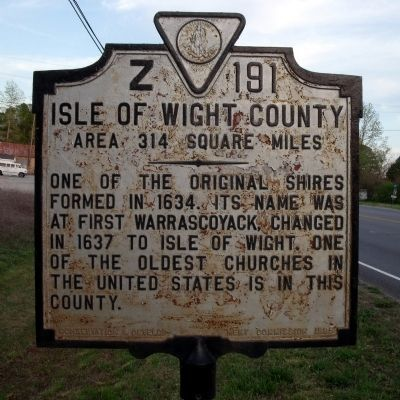 isle wight virginia 17th century | Isle of Wight County Marker Photo, Click for full size