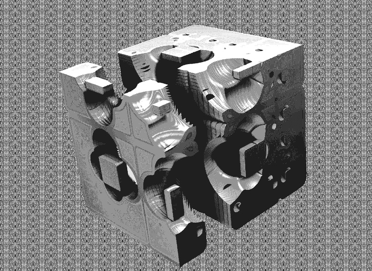 Menger/Powersine sliced and processed as pattern dithered greyscale gif. (Generated by Davin Montagne)