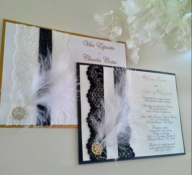 Art Deco Gatsby Glamour Lace Antique Gold, White & Black Wedding Invitation    Hollywood Glamour, Roaring 20's, Great Gatsby, Feathers...